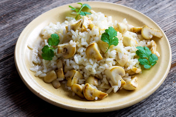 Risotto with mushrooms and coriander