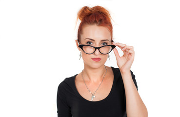beautiful, strong, independent, red-haired woman in glasses