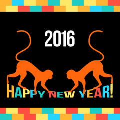 New Year bright funny card template with red monkeys