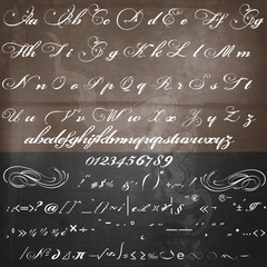 Vector hand made script font in vintage Victorian style