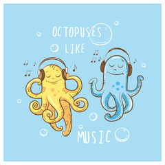 Children's vector card with the octopuses listening to music in earphones.