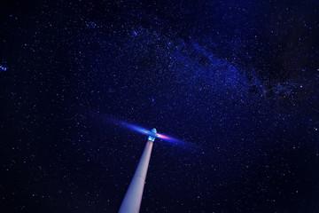 Printed kitchen splashbacks Night wind turbine at night