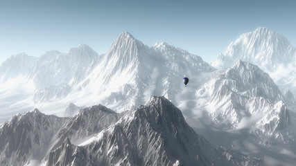Hot air balloon flying over winter mountain landscape.