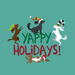 Yappy Holidays cute dogs wearing silly hats greeting card flat design. EPS 10 vector royalty free illustration.
