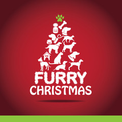 Cartoon dogs and cats Christmas tree EPS 10 vector