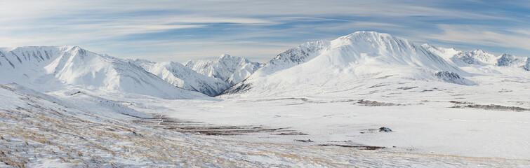 Beautiful winter landscape, Altai mountains Russia.