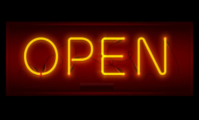 Open sign. Realistic neon inscription. Glowing font. Vector illustration.