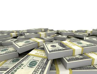 Us dollars bundles isolated on white background