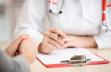 Doctor's desk during patient's consultation in clinic