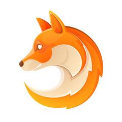 Fox head volume logo. Orange on white.