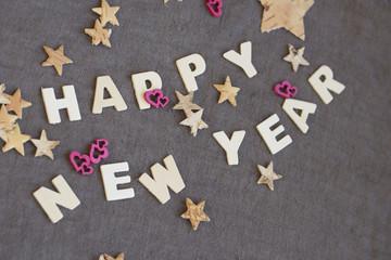 HAPPY NEW YEAR mit pink Herzen ind Sternen