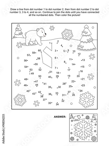 Winter New Year Or Christmas Themed Connect The Dots Picture Puzzle And Coloring Page