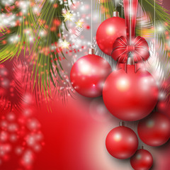 Beautiful background with Christmas red baubles, stars and bow.