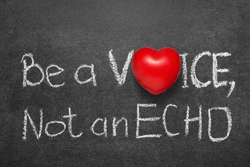 be a voice, not an echo phrase phrase handwritten on blackboard with heart symbol instead O