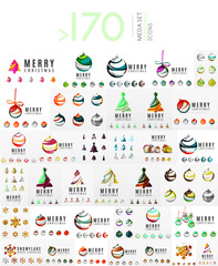 Mega set of Christmas Logos. Abstract tree, snow and ball symbols. Vector illustration, icons and logotypes winter and New Year