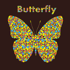 Butterfly from dots. Creative design