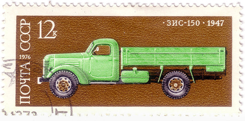 USSR - CIRCA 1974: A stamp printed in USSR shows Zis 8 bus, 1934, Development of Russian automotive industry, circa 1974