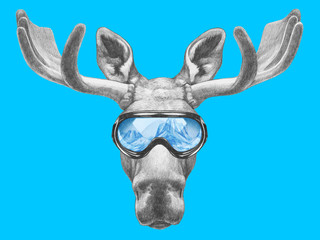 Portrait of Moose with ski goggles. Hand drawn illustration.