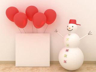 Empty picture frames in modern interior background on the white brick wall with rustic wooden floor with balloons. New Year and christmas concept. Copy space image.
