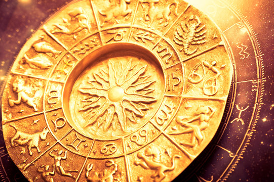 a golden zodiac plate with all signs