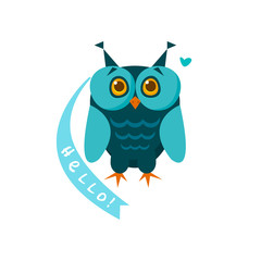 Cute owl with a sign for text