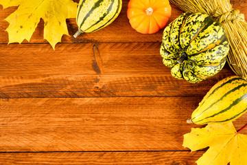 Kürbis als Dekoration im Herbst für Halloween und Erntedank