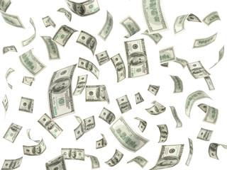 100 dollar bills flying on white background