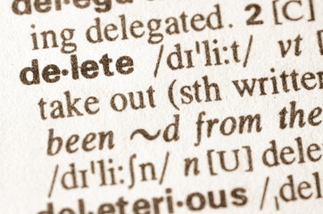 Dictionary definition of word delete