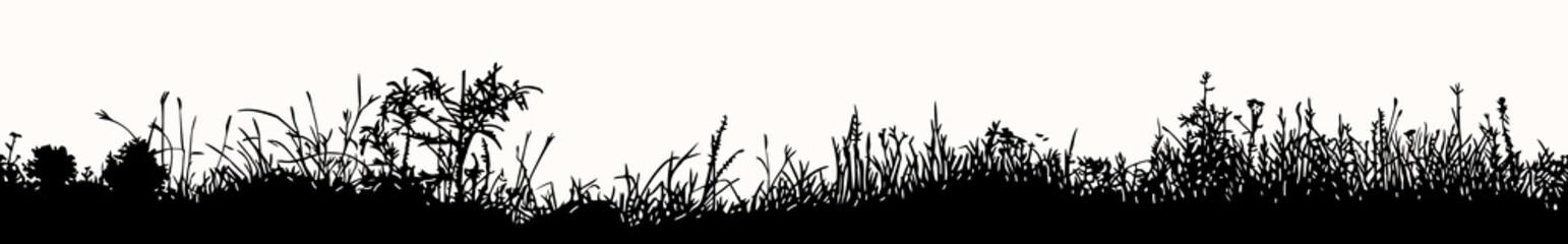 Grass horizontal seamless pattern