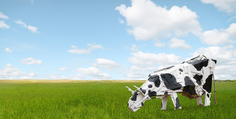Abstract cows graze in the meadow.