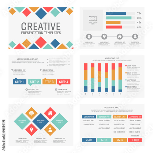 vector template for multipurpose presentation slides with graphs, Modern powerpoint