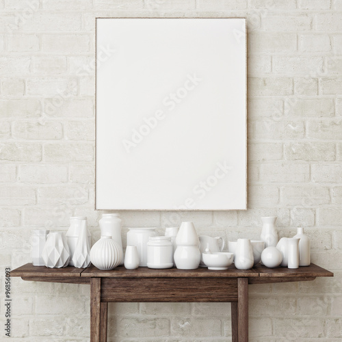 """""""Mock Up Poster On Brick Wall, 3d Render"""" Stock Photo And"""