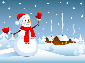 Winter Christmas landscape with a snowman.  Vector illustration