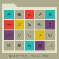 Shopping icon set. Multicolored square flat buttons