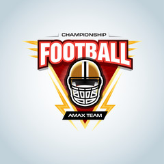 American football logo template, badge, t-shirt, label, emblem. Football helmet. Vector illustration.