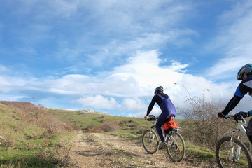 Mtb Cyclists In The Mountains Of Nebrodi Park, Sicily
