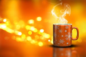 3D Christmas mug on a bokeh lights background