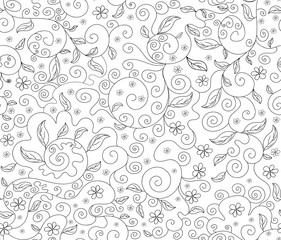 Abstract floral vector seamless pattern with flowers and leaves, decorative figured lines