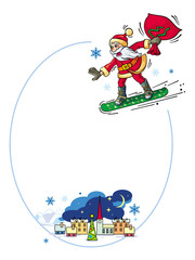 Round frame with winter town landscape and Santa Claus riding snowboard