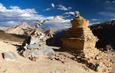 stupas with prayer flags in Zanskar valley