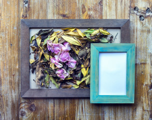 picture frames and flowers and leaves
