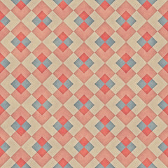 Raster Seamless Diagonal Red Blue Tan Stripe Rhombus Blocks Grid  Grunge Retro Pattern