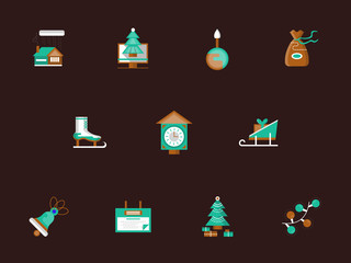 Flat color winter holidays vector icons set