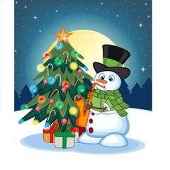 Snowman Wearing A Green Head Cover And A Scarf Playing Saxophone With Christmas Tree And Full Moon At Night Background For Your Design Vector Illustration