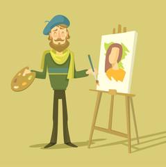 Vector cartoon flat artist. Vector illustration