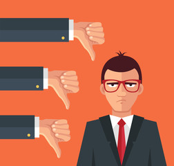 Angry businessman and many hands with thumbs down. Vector flat illustration
