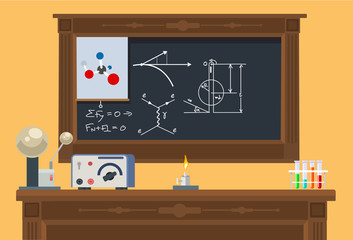 Math class. Vector flat illustration