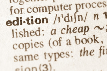 Dictionary definition of word edition