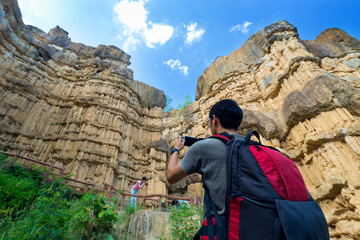 Tourist at Pha Chor canyon in Mae Wang National Park,Chiang Mai,