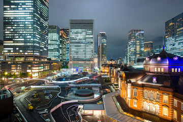 Japan night cityscape at tokyo station